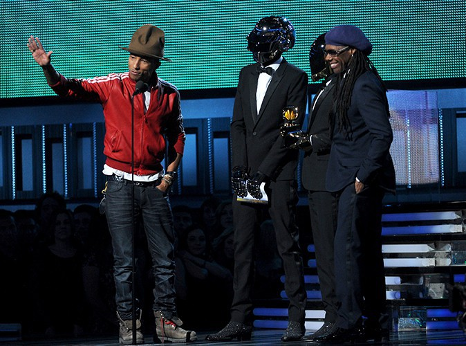 Daft Punk, Pharrell Williams et Nile Rodgers à Los Angeles le 26 janvier 2014