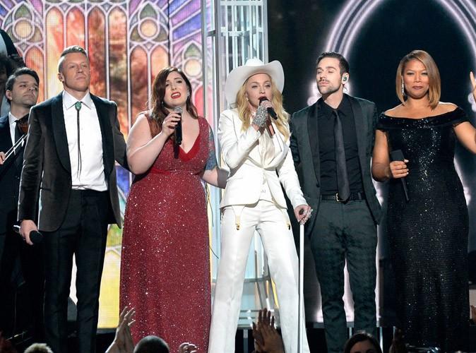 Macklemore, Mary Lambert, Madonna, Ryan Lewis et Queen Latifah lors des Grammy Awards à Los Angeles, le 26 janvier 2014.