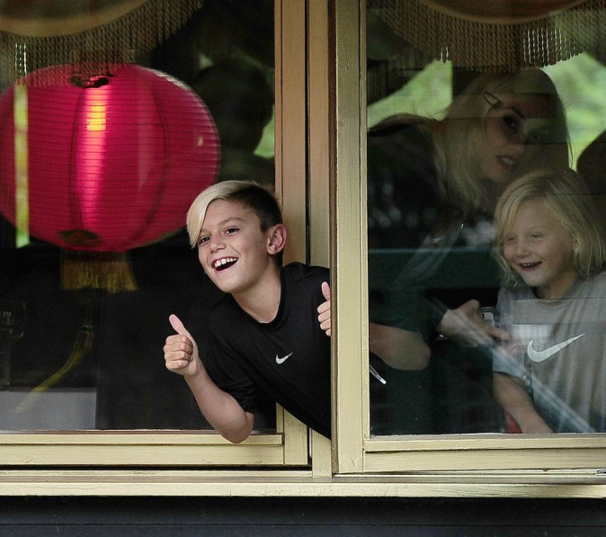 Les fils de Gwen Stefani à Londres, le 4 août
