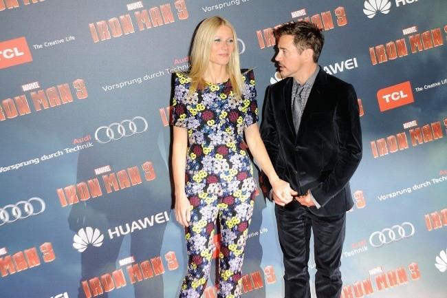 Gwyneth Paltrow et Robert Downey Jr. à Paris pour la première d'Iron Man 3, le 14 avril 2013.