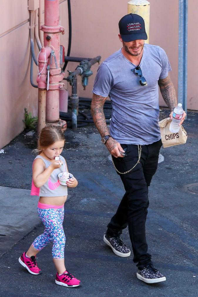 Harper et David Beckham le 20 août 2015