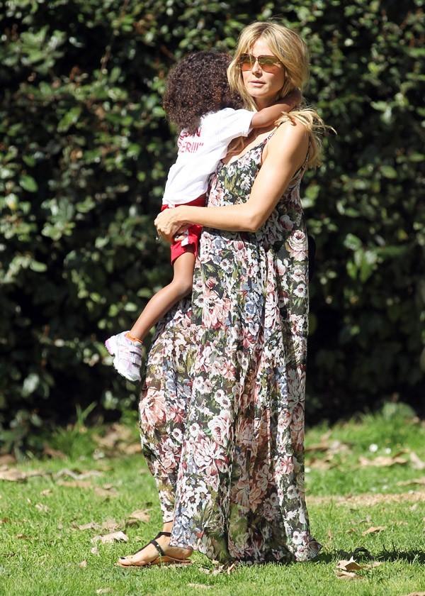 Heidi Klum en famille à Brentwood le 16 février 2013