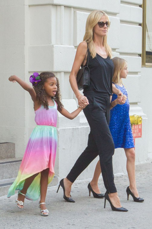 Heidi Klum en famille à New-York le 18 juillet 2014