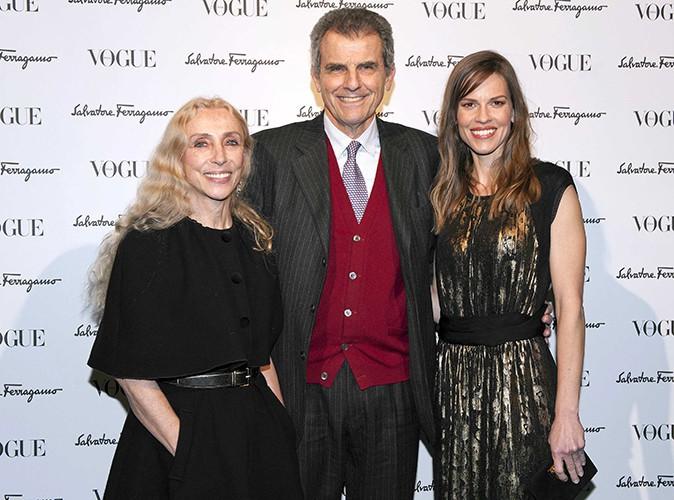 Franca Sozzani, Salvatore Ferragamo et Hilary Swank à Milan le 23 février 2014