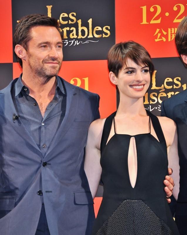 Anne Hathaway et Hugh Jackman le 28 novembre 2012 à Tokyo