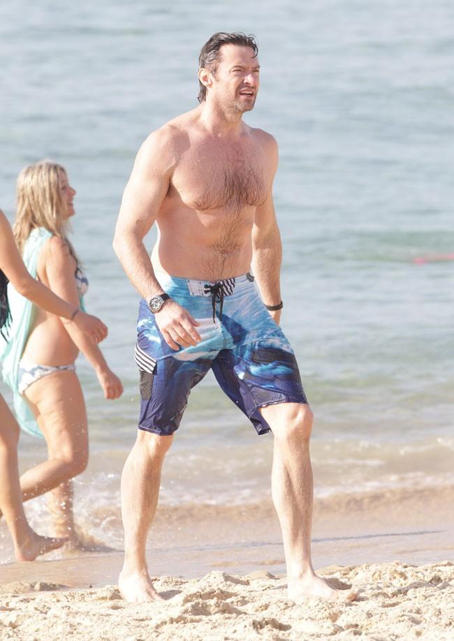 Hugh Jackman sur la plage de Bondi beach à Sydney le 20 décembre 2013