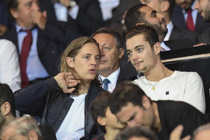 Pierre et Louis Sarkozy au match PSG - Arsenal au Parc des Princes le 13 septembre 2016