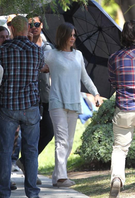 Jennifer Aniston sur le tournage de son nouveau film à Los Angeles le 7 avril 2014