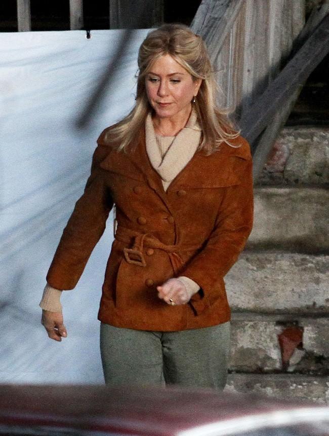 Jennifer Aniston sur le tournage de The Untitled Elmore Leonard Project dans le Connecticut le 12 février 2013