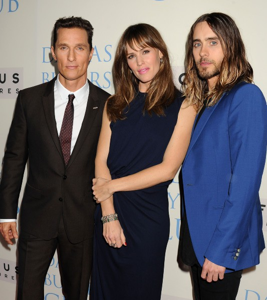 """Matthew McConaughey, Jennifer Garner et Jared Leto lors de la première du film """"Dallas Buyers Club"""" à Beverly Hills, le 17 octobre 2013."""