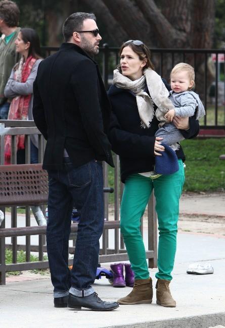 Ben Affleck, Samuel et Jennifer Garner le 17 mars à Brentwood