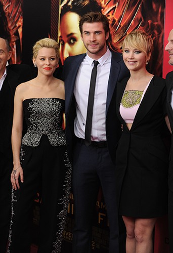 Jennifer Lawrence et ses co-stars à New-York le 20 novembre 2013