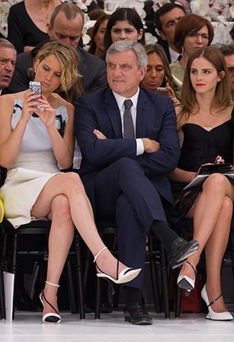 Jennifer Lawrence, Sidney Toledano et Emma Watson à Paris le 7 juillet 2014