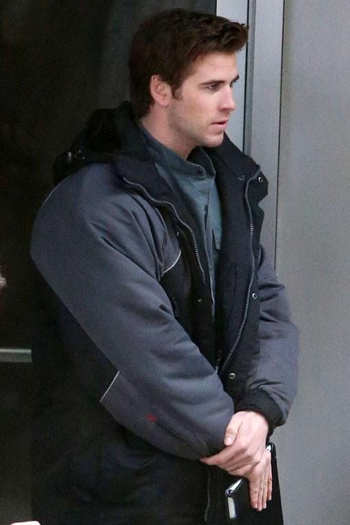 Liam Hemsworth sur le tournage d'Hunger Games à Atlanta le 5 février 2014