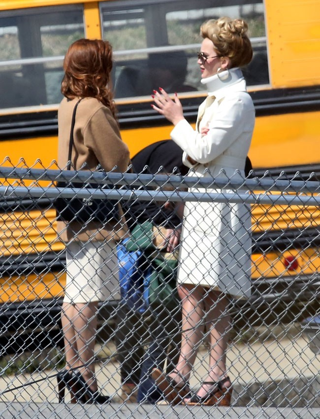 Jennifer Lawrence sur le tournage d'American Bullshit à Boston le 9 avril 2013