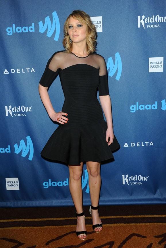 Jennifer Lawrence lors des GLAAD Media Awards à Los Angeles le 20 avril 2013