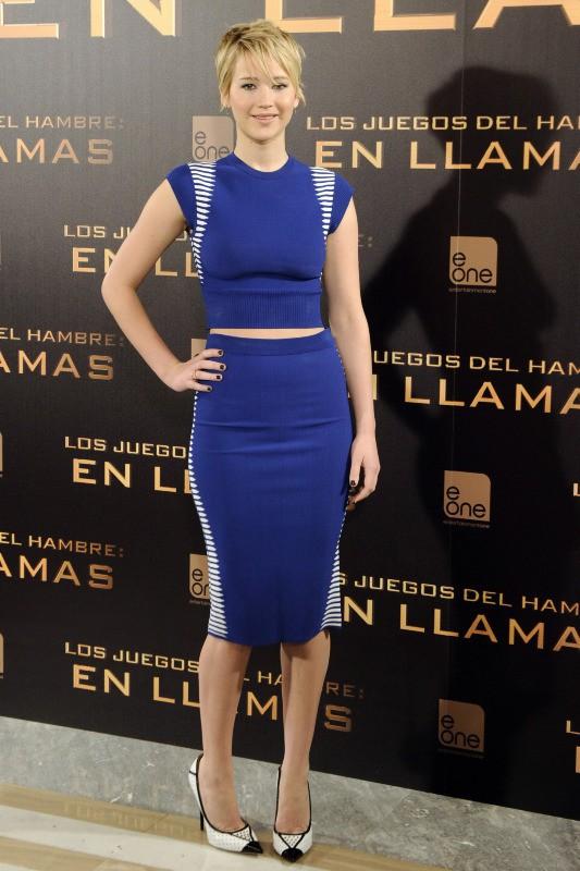 """Jennifer Lawrence en promo à Madrid pour """"Hunger Games : L'Embrasement"""", le 13 novembre 2013."""
