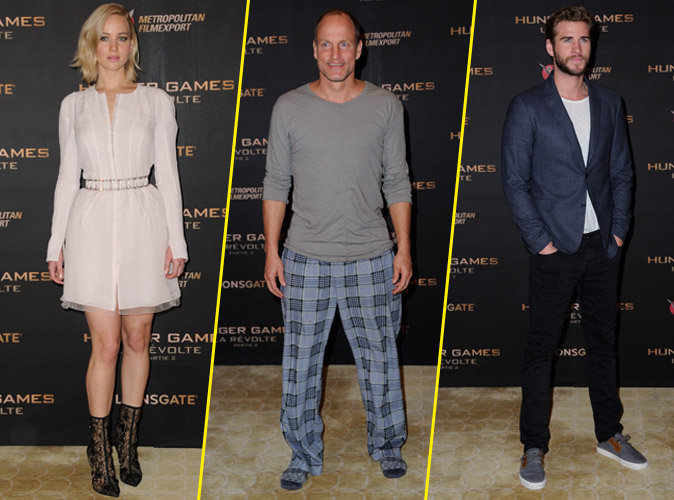 Jennifer Lawrence, Woody Harrelson et Liam Hemsworth le 9 novembre 2015