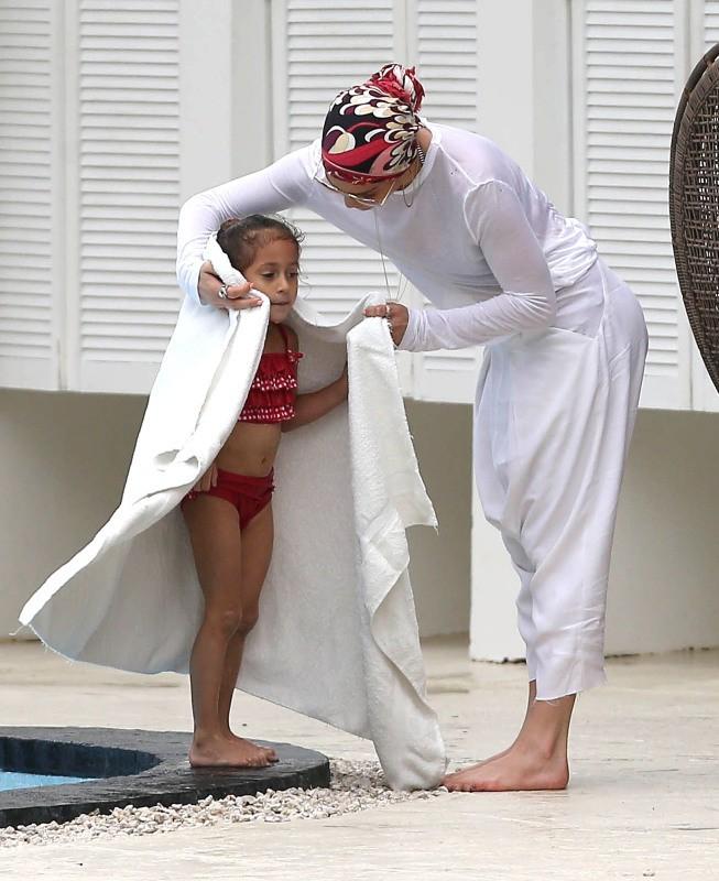 Jennifer Lopez et ses enfants, Miami, 19 janvier 2013.