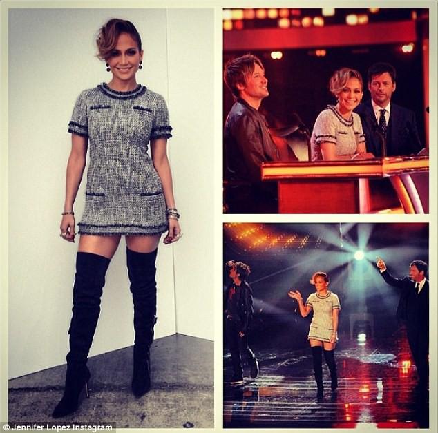 Jennifer Lopez sur le plateau de l'émission American Idol, le 17 avril 2014.