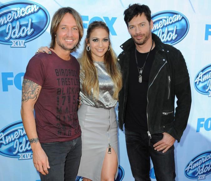 Keith Urban, Jennifer Lopez et Harry Connick, Jr à Los Angeles le 9 décembre 2014