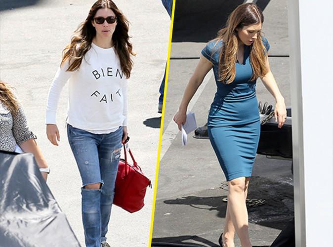 Jessica Biel sur le tournage de la saison 4 de New Girl le lundi 4 août 2014 à Los Angeles.