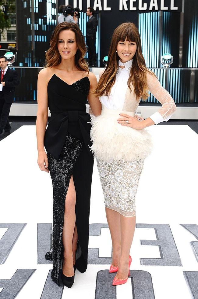 Jessica Biel et Kate Beckinsale le 16 août 2012 à Londres