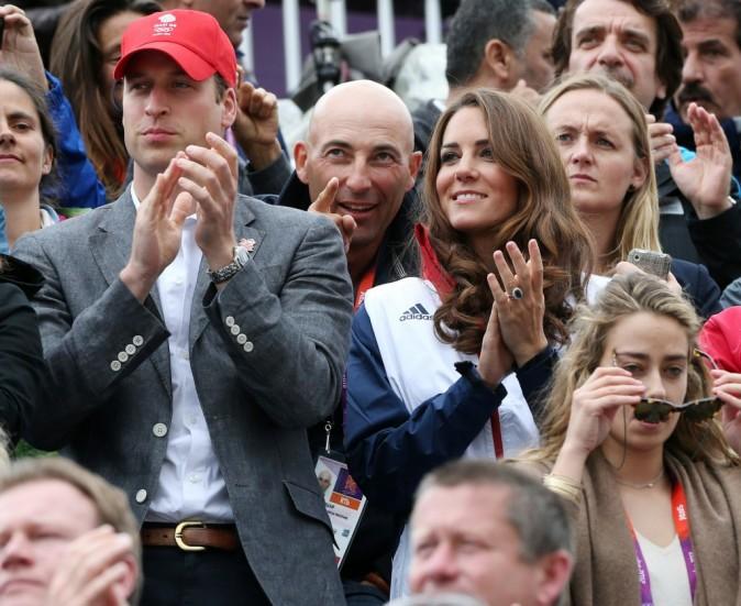Nicolas Canteloup, Kate Middelton et le prince William lors de l'épreuve d'équitation aux JO de Londres, le 31 juillet 2012.