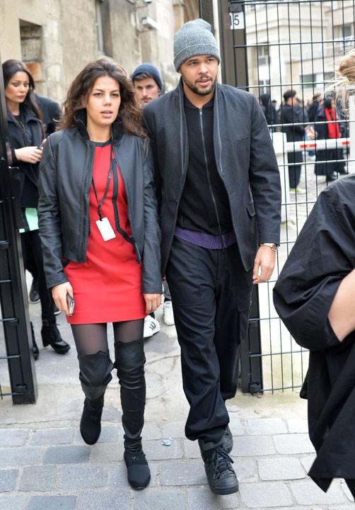 Jo-Wilfried Tsonga et sa compagne Noura au défilé Y-3, à Paris, le 25 janvier 2015