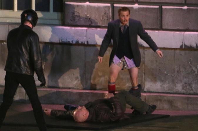 """Johnny Depp sur le tournage de """"Mortdecai"""" à Londres le 9 décembre 2013"""