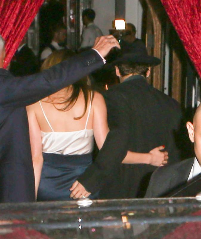 Johnny Depp et Amber Heard arrivent à la soirée de leurs fiançailles à Los Angeles, le 14 mars 2014.