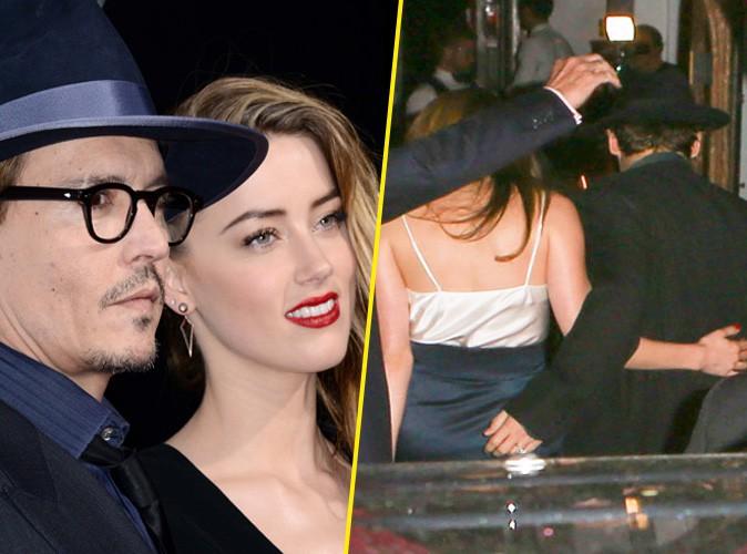 Johnny Depp et Amber Heard ont célébré leurs fiançailles à Los Angeles, le 14 mars 2014.
