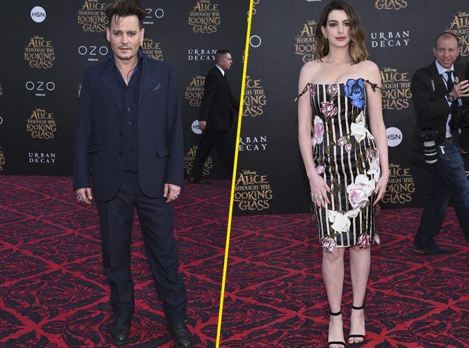 Photos : Johnny Depp et Anne Hathaway : formidable duo d'acteurs pour l'Avant-Première d'Alice de l'autre côté du miroir