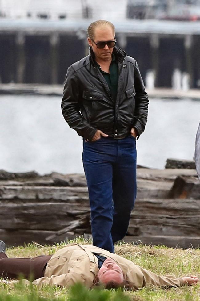 """Johnny Depp sur le tournage de """"Black Mass"""" à Boston le 27 mai 2014"""