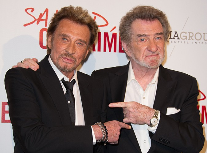 Johnny Hallyday et Eddy Mitchell à Paris le 31 mars 2014