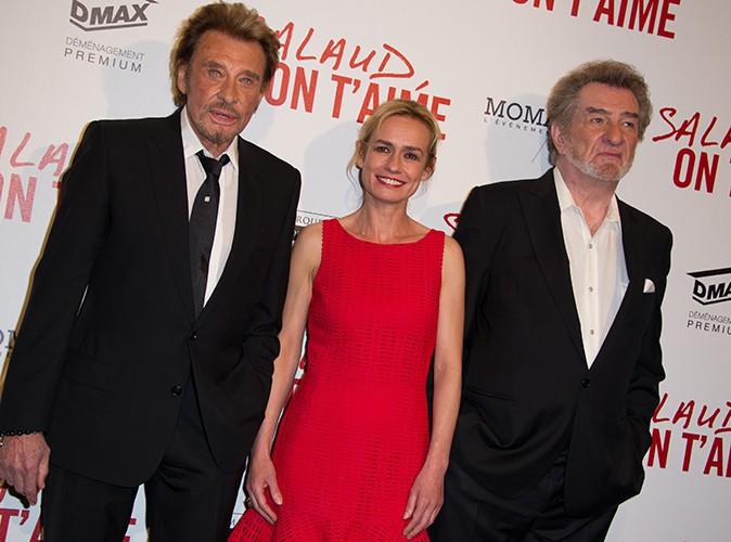 Johnny Hallyday, Sandrine Bonnaire et Eddy Mitchell à Paris le 31 mars 2014