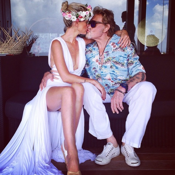 Johnny et Laeticia Hallyday à St Barth le 6 août 2014