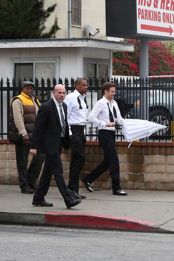 Jay-Z et Justin Timberlake sur le tournage du clip Suit & Tie à Los Angeles le 25 janvier 2013