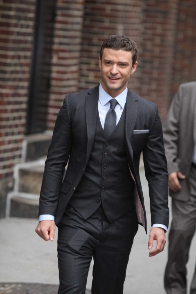 Justin Timberlake se rendant au Late Show With David Letterman à New York, le 26 octobre 2011.