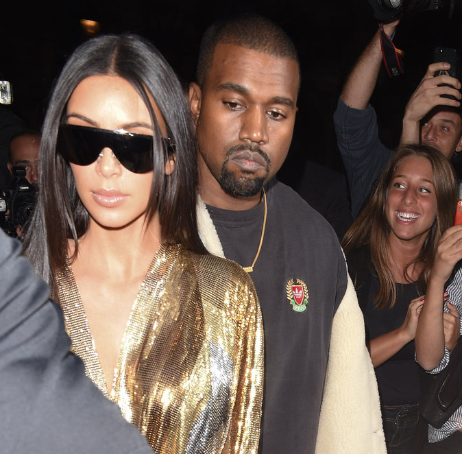 Le couple Kanye West et Kim Kardashian se rendant à l'after show Balmain à Paris le 29/09/16