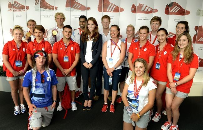 Kate Middleton rend visite au Team GB à Stratford, le 9 août 2012.