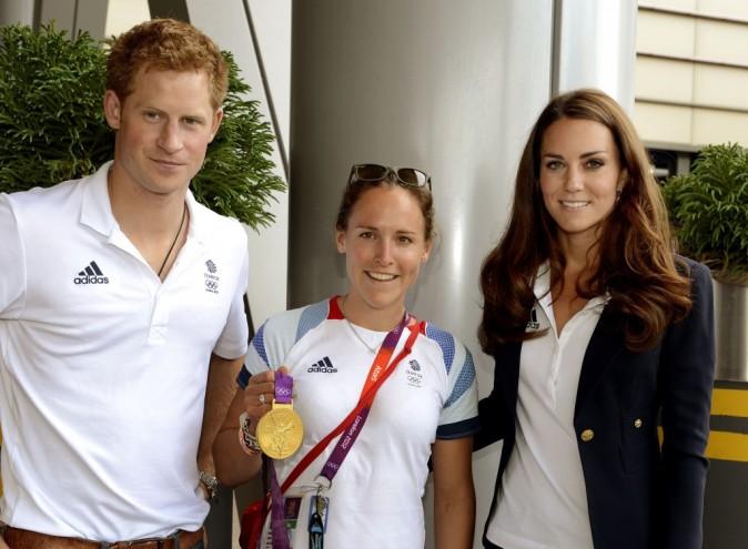 Le prince Harry et Kate Middleton rendent visite au Team GB à Stratford, le 9 août 2012.