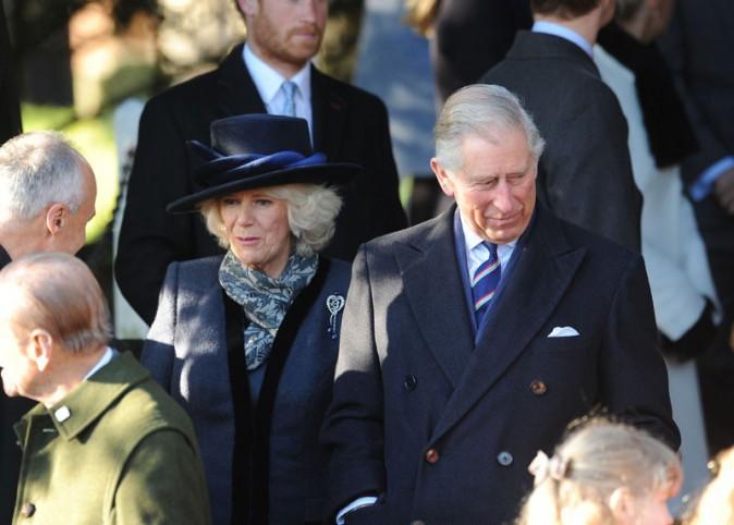 Camilla et le Prince Charles à la messe de Noël célébrée en l'église St Mary Magdalene le 25 décembre 2013