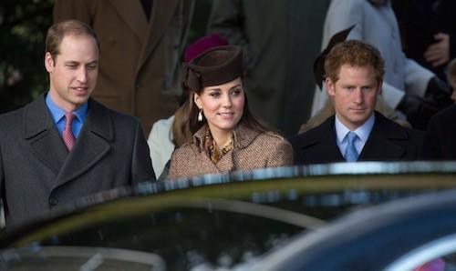 Le prince William, le prince Harry et Kate Middleton à Sandringham, le 25 décembre 2014