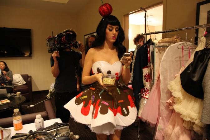 Katy dans les coulisses d'un de ses concerts à New-York