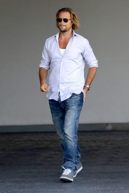 Gabriel Aubry lors de la baby shower de Fergie à Brentwood, le 28 juillet 2013.