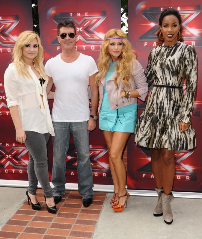Demi Lovato, Simon Cowell, Paulina Rubio et Kelly Rowland lors des nouvelles auditions de X-Factor à Los Angeles, le 11 juillet 2013.