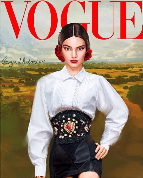 Kendall en couverture de Vogue dessinée et habillée en Dolce & Gabbana