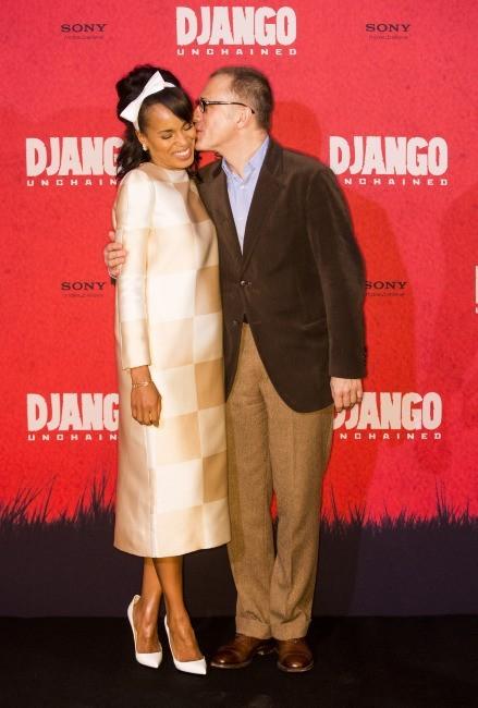 Kerry Washington et Christoph Waltz lors du photocall du film Django Unchained à Berlin, le 8 janvier 2013.