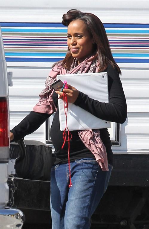 Kerry Washington sur le tournage de Scandal à Pasadena le 24 février 2014